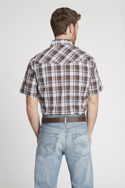 Men's Short Sleeve Plaid Shirt in Brown Plaid