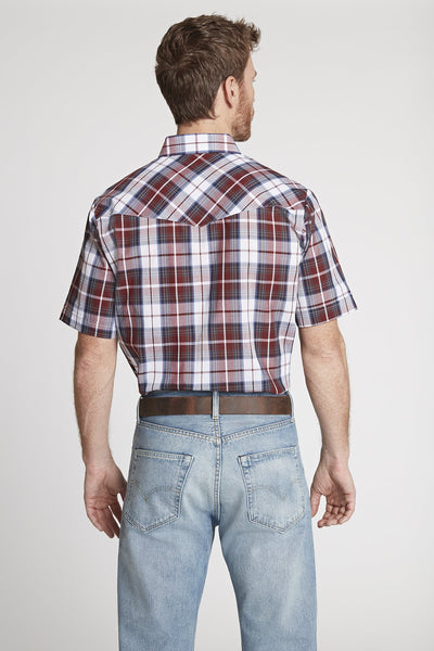 Men's Short Sleeve Plaid Shirt in Burgundy Plaid