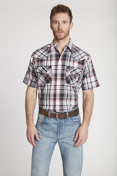 Men's Short Sleeve Plaid Shirt in Grey Plaid