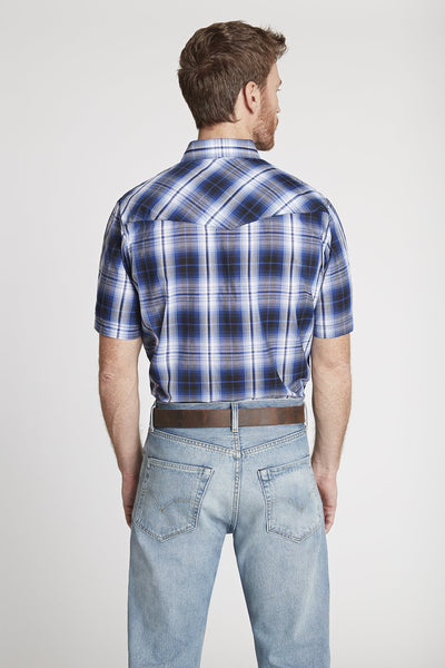 Men's Short Sleeve Plaid Shirt in Navy Plaid
