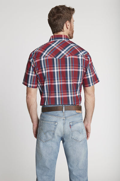Men's Short Sleeve Plaid Shirt in Red Plaid