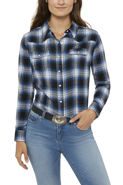 Women's Relaxed Fit Flannel Shirt in Blue Plaid | Ely Cattleman