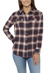 Ely Cattleman Relaxed Fit Flannel Shirt in Burgundy Plaid