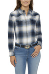 Women's Relaxed Fit Flannel Shirt in Navy Plaid | Ely Cattleman