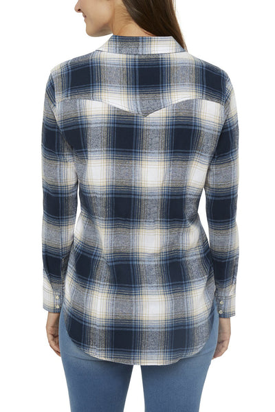 Ely Cattleman Relaxed Fit Flannel Shirt in Navy Plaid