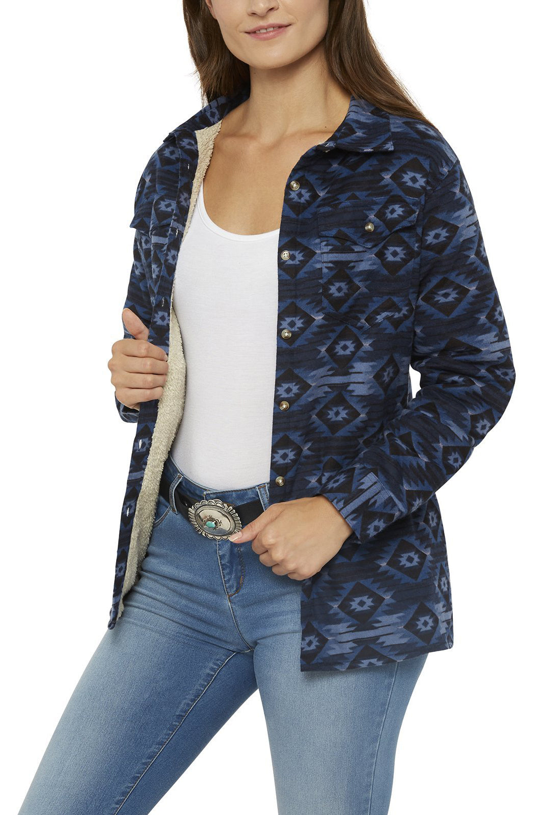 Women's Sherpa Lined Aztec Flannel Shirt | Ely Cattleman
