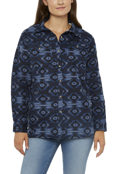 Ely Cattleman Sherpa Lined Aztec Flannel Shirt in Navy Aztec