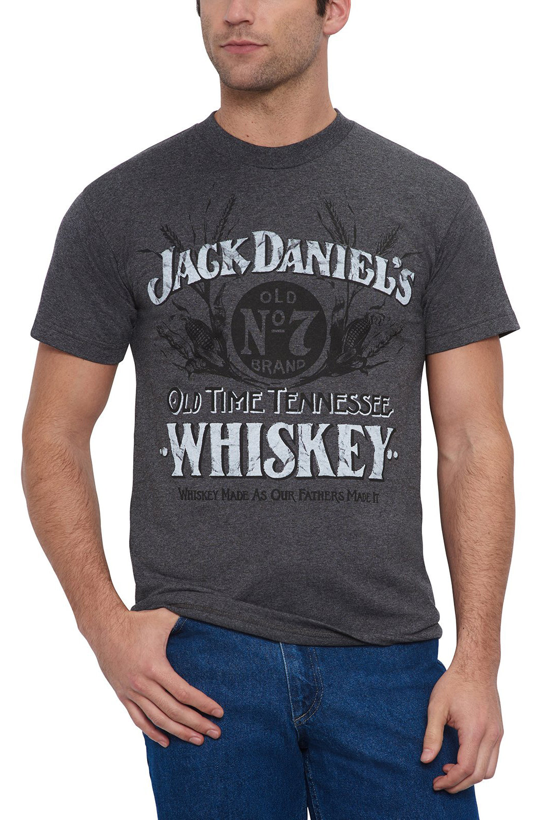 Men's Short Sleeve Jack Daniel's Old Time Tennessee Whiskey T-Shirt Charcoal | Ely Cattleman