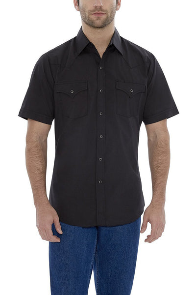 Men's Short Sleeve Solid Western Shirt in Black | Ely Cattleman