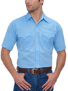 Men's Short Sleeve Solid Western Shirt in Light Blue | Ely Cattleman