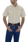 Men's Short Sleeve Solid Western Shirt in Ecru | Ely Cattleman