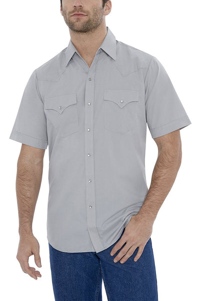 Men's Short Sleeve Solid Western Shirt in Light Gray | Ely Cattleman