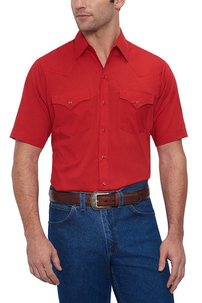Men's Short Sleeve Solid Western Shirt in Red | Ely Cattleman
