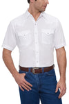 Men's Short Sleeve Solid Western Shirt in White | Ely Cattleman