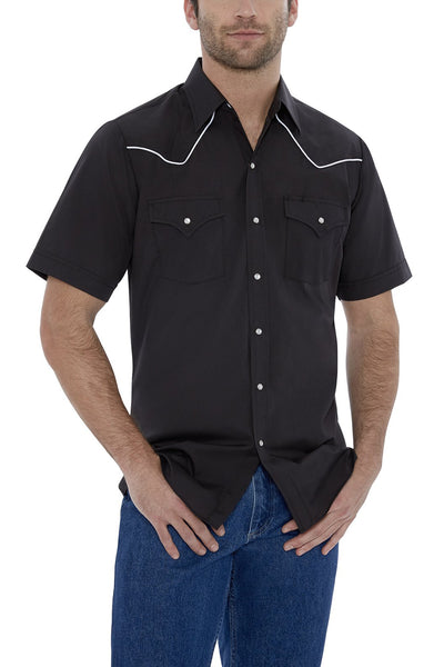 Men's Short Sleeve Solid Western Shirt with Contrast Piping in Black | Ely Cattleman