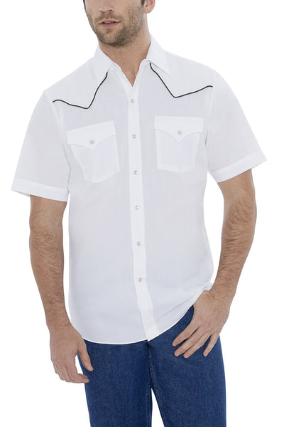 Men's Short Sleeve Solid Western Shirt with Contrast Piping in White | Ely Cattleman