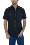 Men's Short Sleeve Tone on Tone Western Shirt in Black | Ely Cattleman