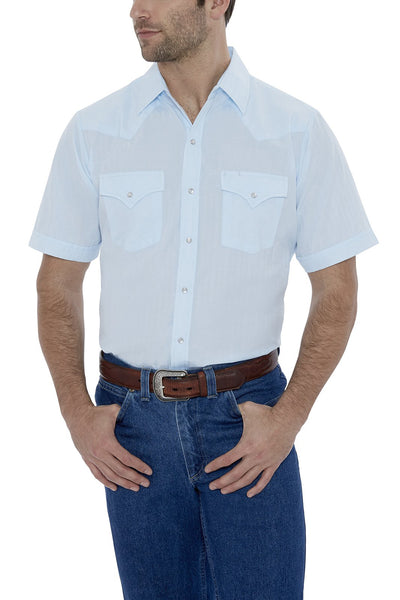 Men's Short Sleeve Tone on Tone Western Shirt in Tonal Blue | Ely Cattleman