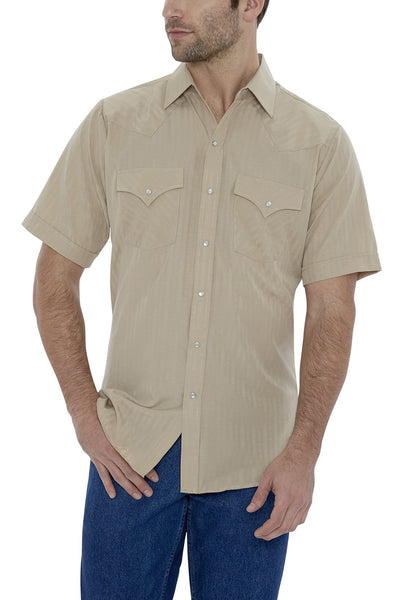 Men's Short Sleeve Tone on Tone Western Shirt in Khaki | Ely Cattleman