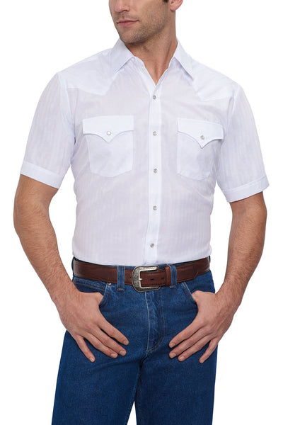 Men's Short Sleeve Tone on Tone Western Shirt in White | Ely Cattleman