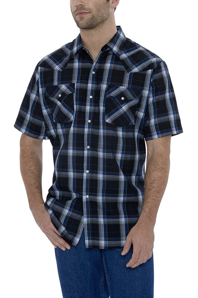 Men's Short Sleeve Plaid Western Shirt in Black Plaid | Ely Cattleman