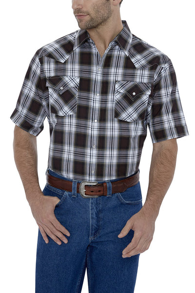 Men's Short Sleeve Plaid Western Shirt in Brown Plaid | Ely Cattleman