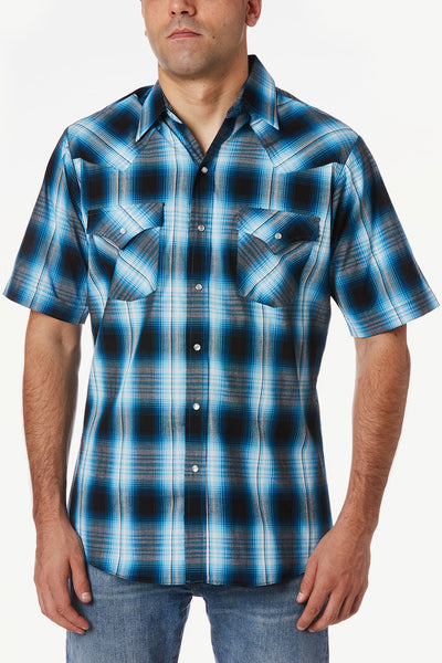 Men's Short Sleeve Plaid Western Shirt in Turq Plaid | Ely Cattleman
