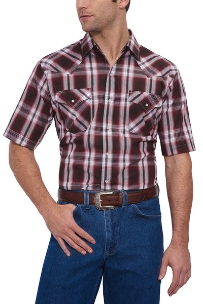 Men's Short Sleeve Plaid Western Shirt in Wine Plaid | Ely Cattleman
