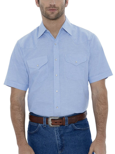 Men's Short Sleeve Wrinkle Resistant Western Oxford Shirt in Blue | Ely Cattleman