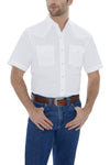 Men's Short Sleeve Wrinkle Resistant Western Oxford Shirt in White | Ely Cattleman