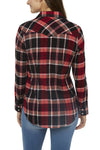 Women's Tailored Fit Flannel Shirt in Burgundy Plaid | Ely Cattleman