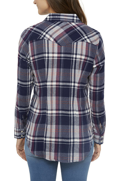 Ely Cattleman Tailored Fit Flannel Shirt in Navy Plaid