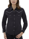 Women's Long Sleeve Western Shirt with Contrast Piping in Black | Ely Cattleman