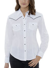 Women's Long Sleeve Western Shirt with Contrast Piping in White | Ely Cattleman