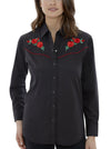 Women's Long Sleeve Western Shirt with Red Rose Embroidery in Black | Ely Cattleman