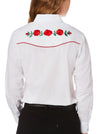 Women's Long Sleeve Western Shirt with Red Rose Embroidery in White | Ely Cattleman