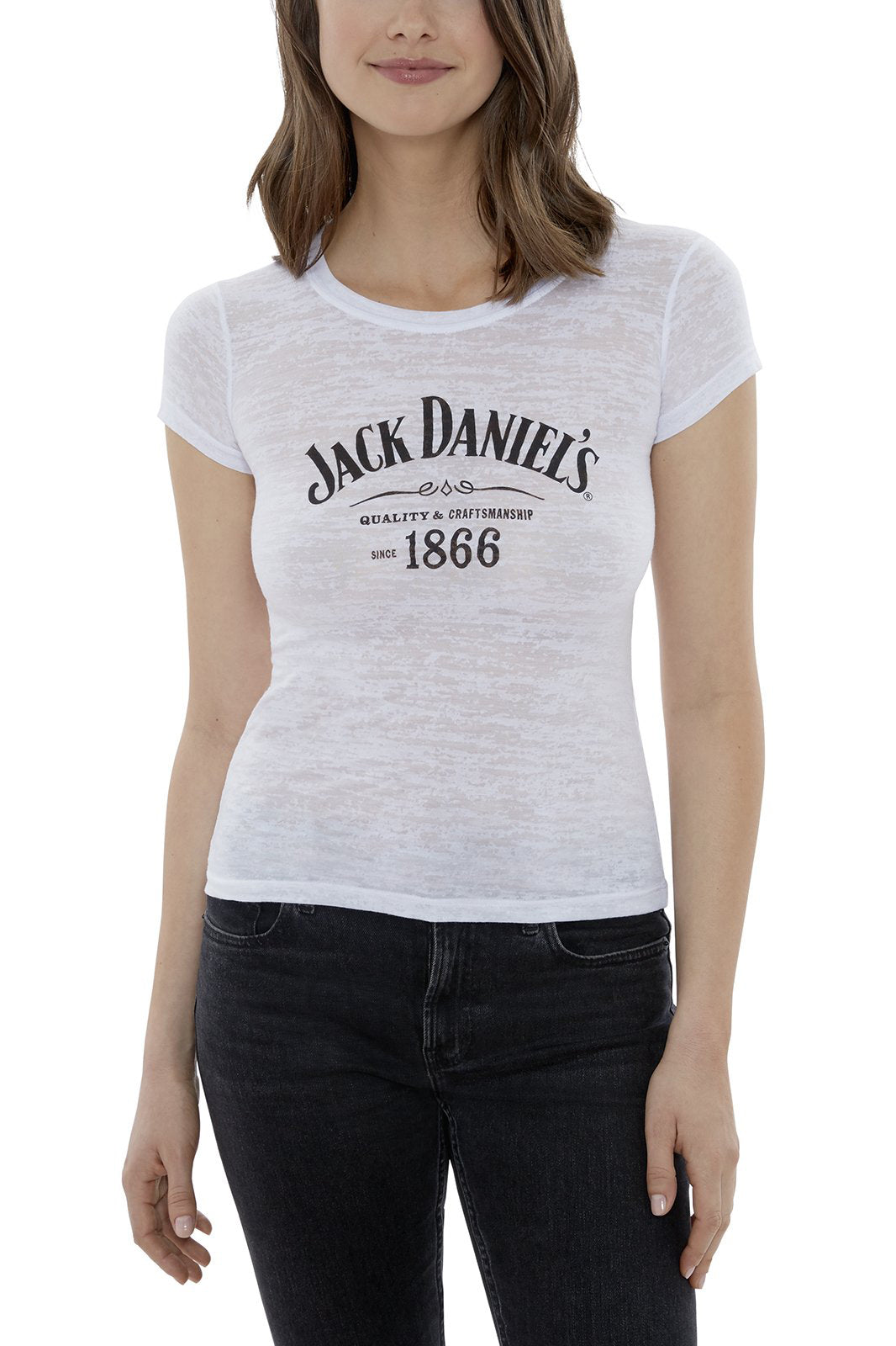Women's Short Sleeve Jack Daniel's Logo Burnout T-Shirt | Ely Cattleman