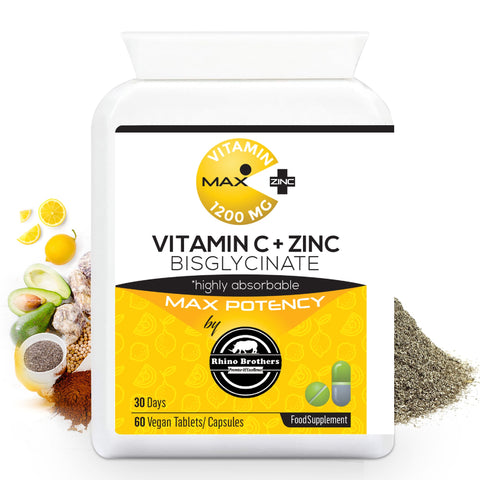 Vitamin C Tablets Ascorbic Acid Immune System Booster Supplements Vitamins C 1200 Mg + Zinc 40 Mg