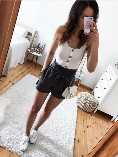Sommer Shorts mit Paperbag-Taille