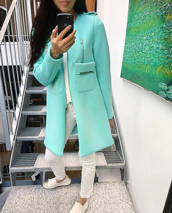 Neopren-Optik Jacke in Tiffany Mint