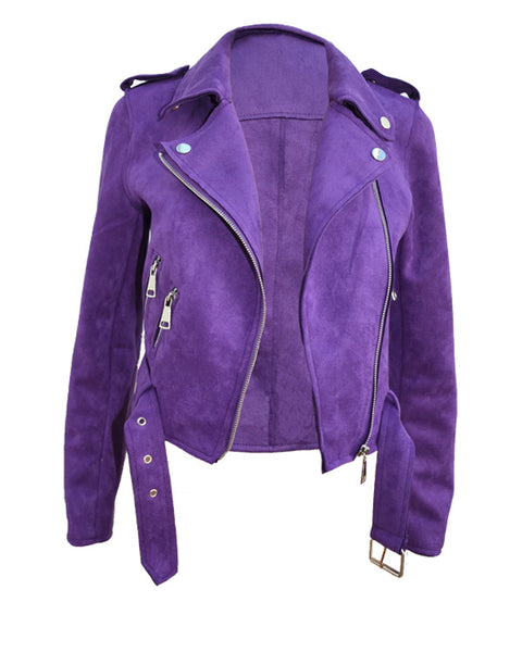 Bikerjacke aus Wildleder - Optik in Ultraviolet