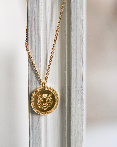 Lion Coin Necklace Gold