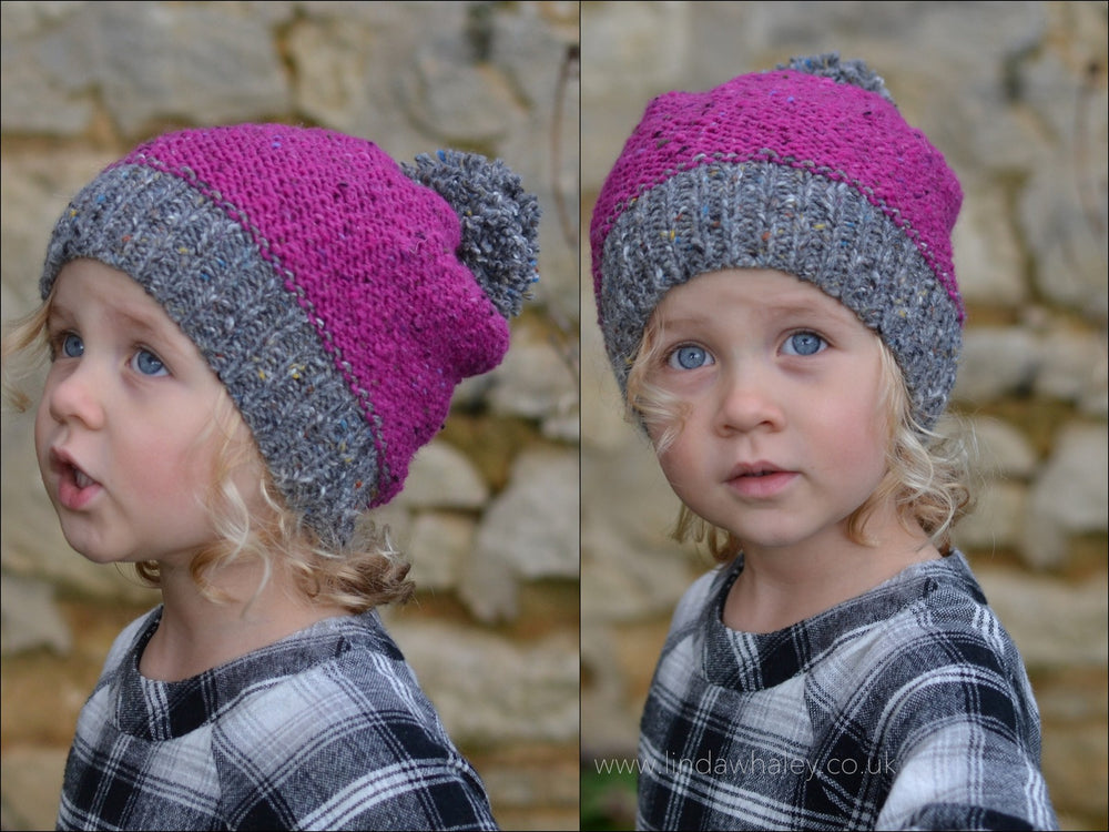 RASPBERRY TWEED BOBBLE HAT