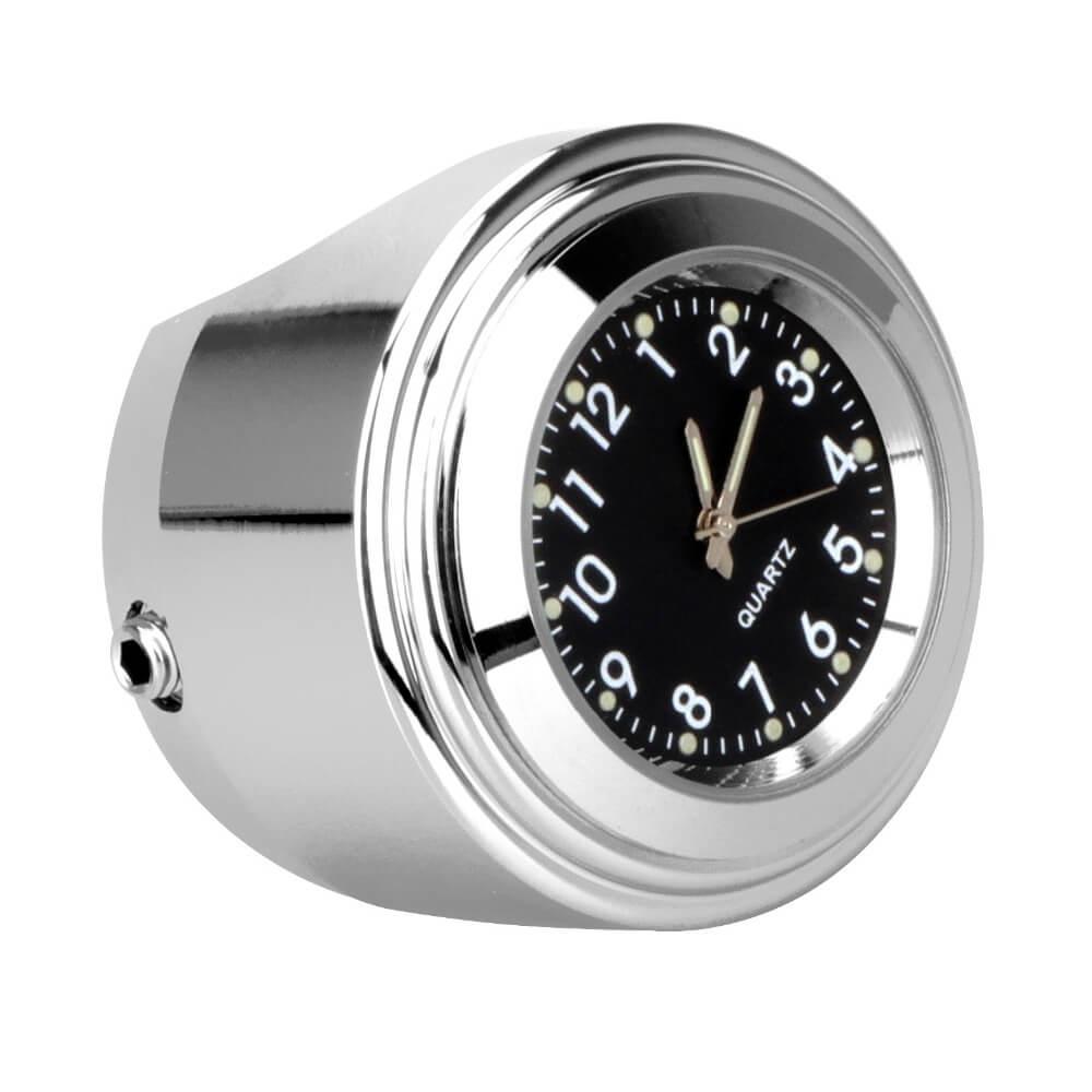 Motorcycle Handlebar Mount Quartz Waterproof Chrome Watch