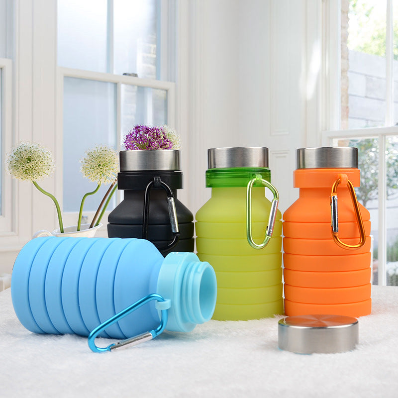 Collapsible Water Bottle | BPA Free Silicone Retractable Travel Water Bottle