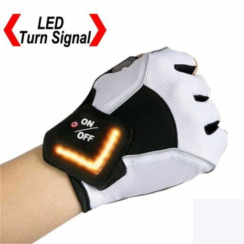 Outdoor Cycling LED Turn Signal Half Finger Gloves