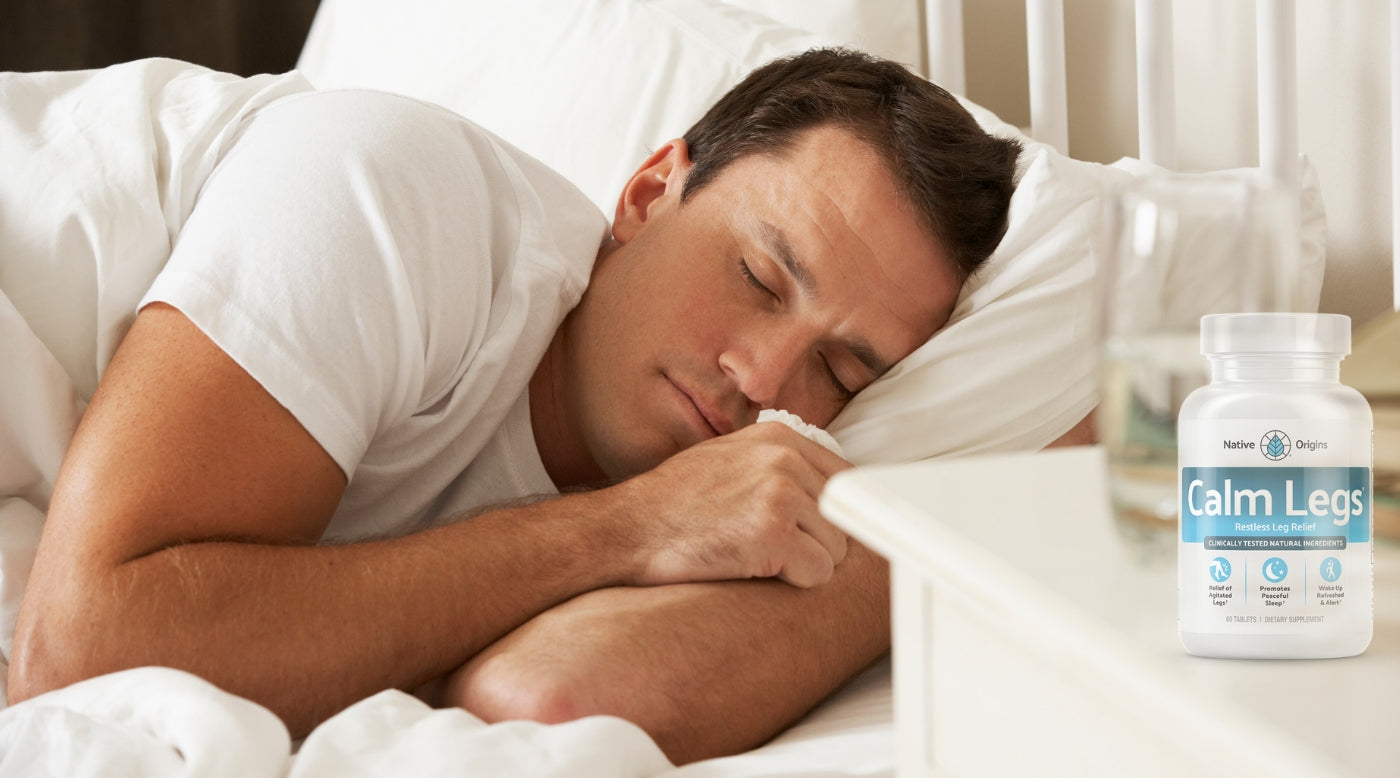 man sleeping, Calm Legs on nightstand