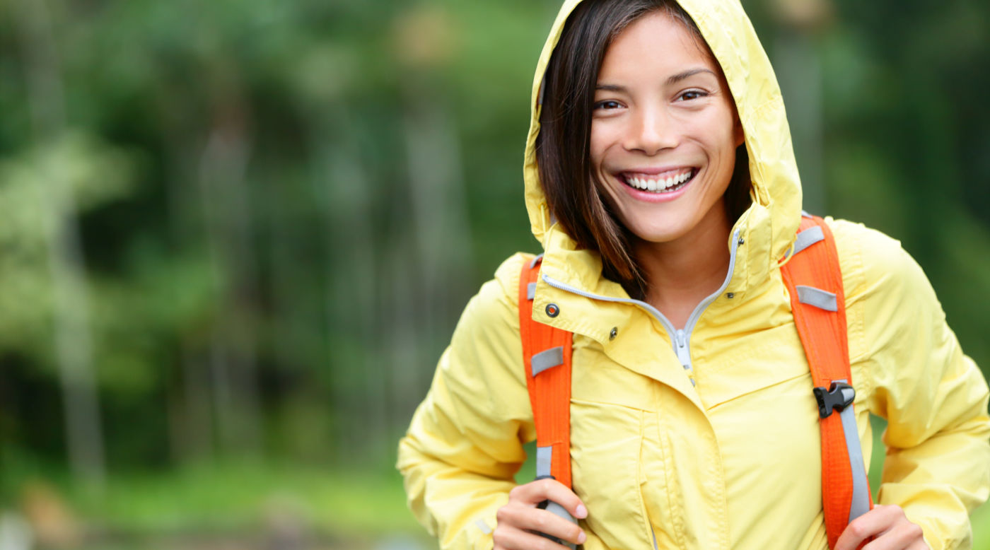Female hiker in rain jacket