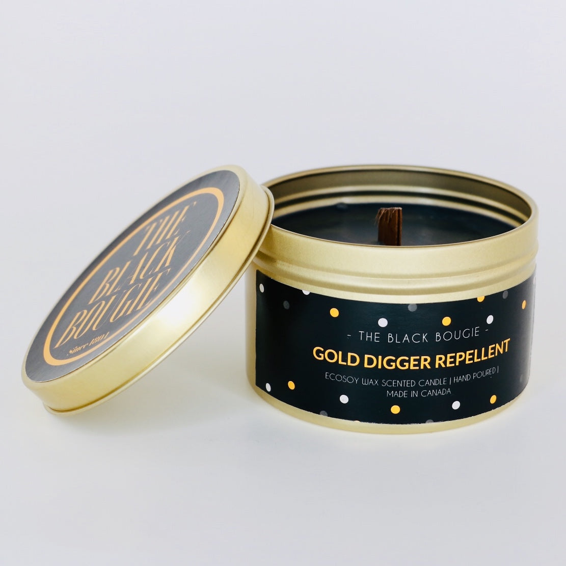 Gold Digger Repellent - Black Scented Soy Candle - Gold Tin - 8 OZ
