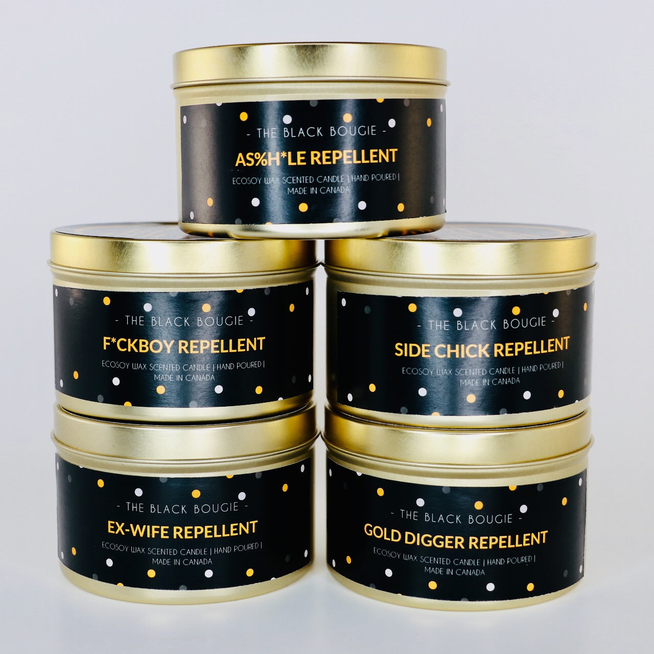 Ex-wife Repellent - Black Scented Soy Candle - Gold Tin - 8 OZ